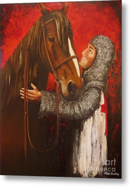 Knight And Horse Metal Print