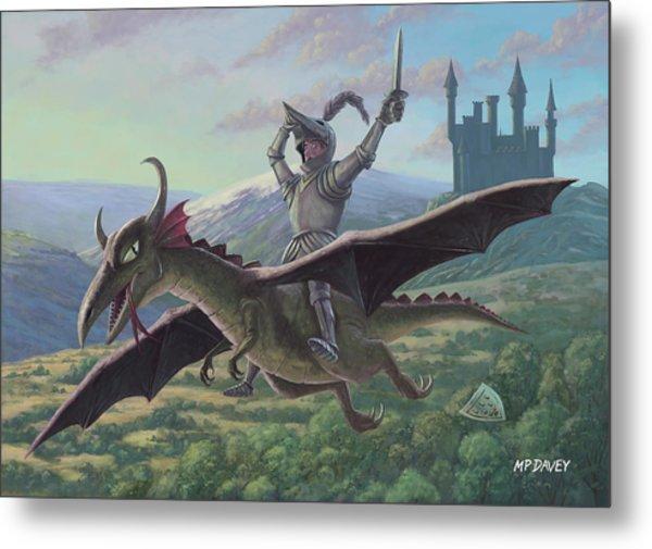 Knight Riding On Flying Dragon Metal Print