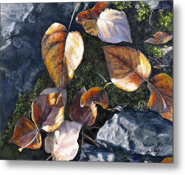 Knik River Autumn Leaves Metal Print