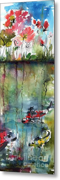 Koi Fish Pond Expressive Watercolor And Ink Metal Print