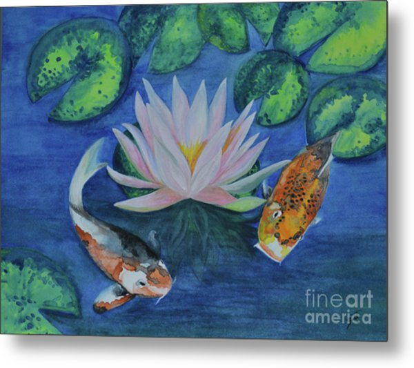 Koi In The Lily Pond Metal Print