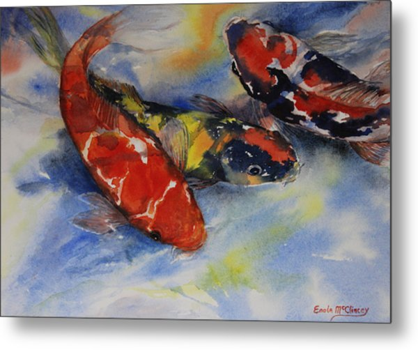 Koi Party Metal Print by Enola McClincey