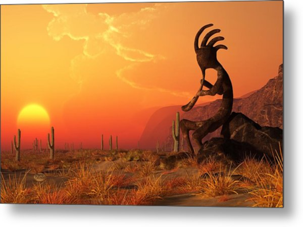 Metal Print featuring the digital art Kokopelli Sunset by Daniel Eskridge