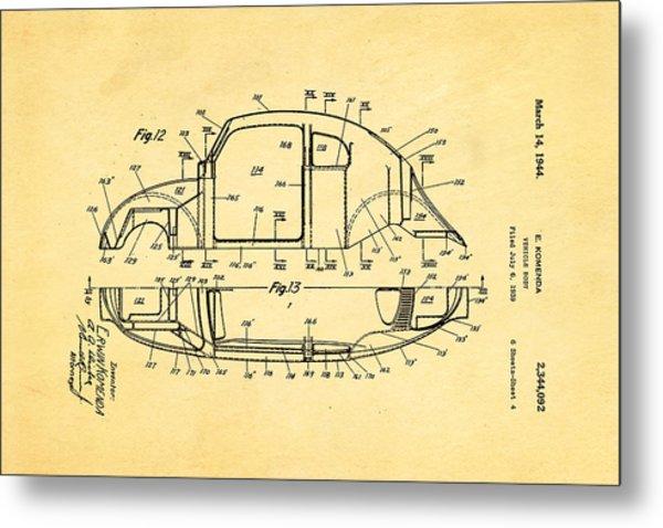Komenda Vw Beetle Body Design Patent Art 3 1944 Metal Print by Ian Monk