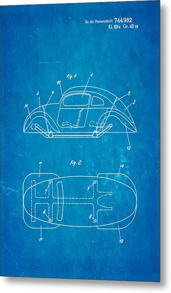 Komenda Vw Beetle Official German Design Patent Art Blueprint Metal Print by Ian Monk
