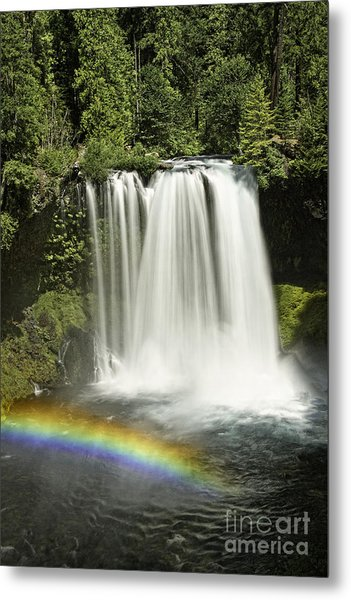 Koosah Falls And Rainbow Metal Print