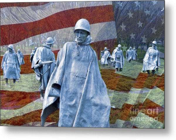 Korean War Veterans Memorial Bronze Sculpture American Flag Metal Print