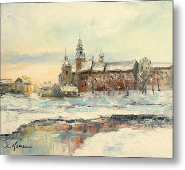 Krakow - Wawel Castle Winter Metal Print
