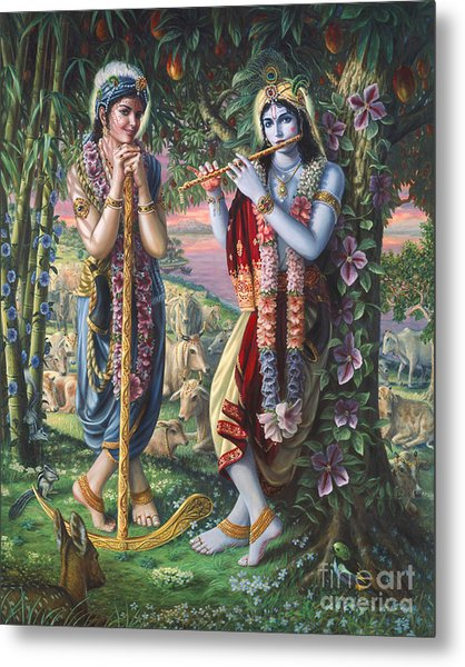 Krishna And Balaram  Metal Print