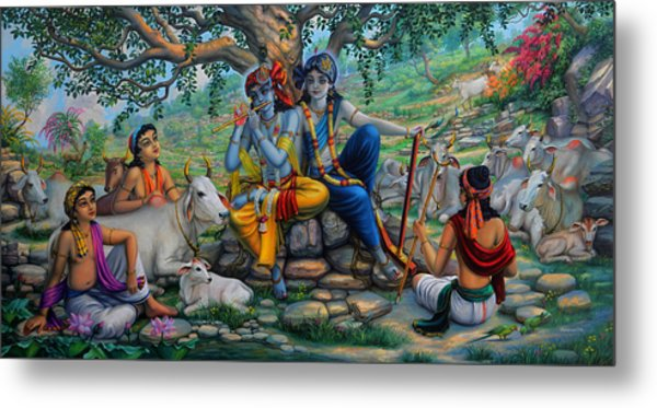 Krishna And Balaram With Friends On Govardhan Hill Metal Print