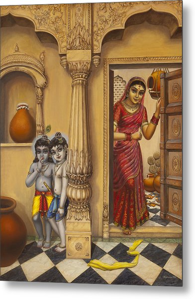 Krishna And Ballaram Butter Thiefs Metal Print