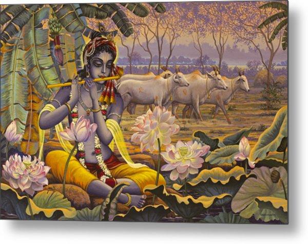Krishna. Evening Flute Metal Print