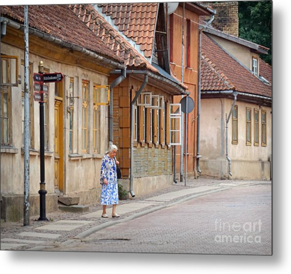 Kuldiga Street Crossing Metal Print