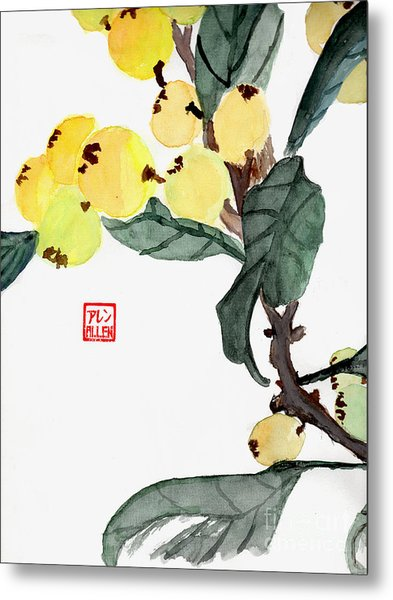 Kumquats  Chinese Watercolor Painting Metal Print