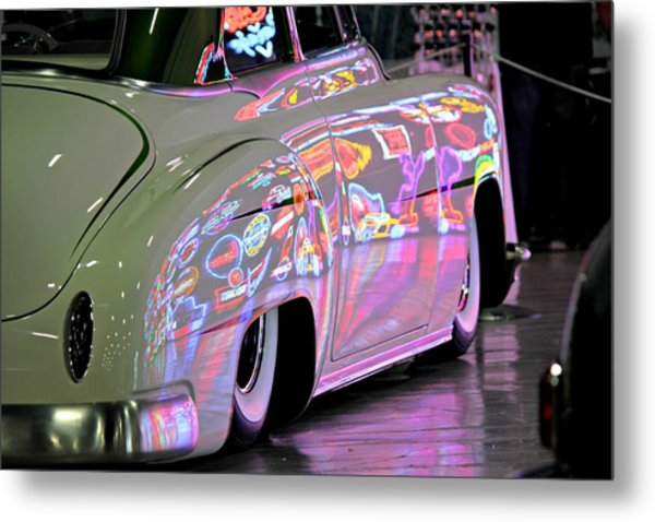Kustom Neon Reflections Metal Print