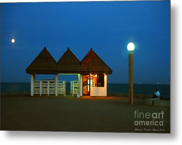 Kuwaiti Pier Snack Bar At Dusk Metal Print by Lawrence Costales