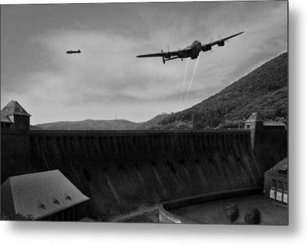 L For Leather Over The Eder Dam Black And White Version Metal Print