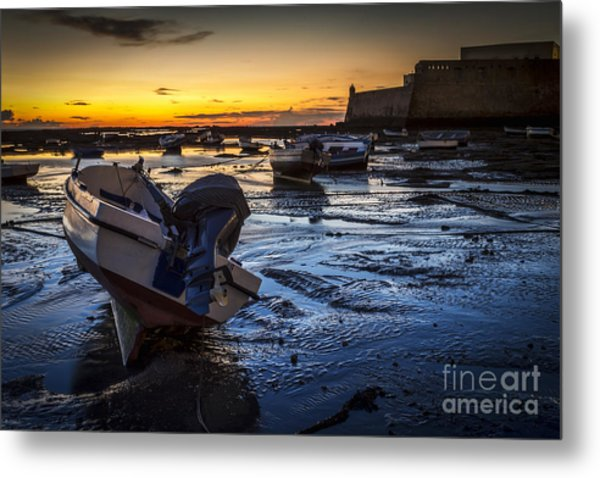 La Caleta Beach Cadiz Spain Metal Print