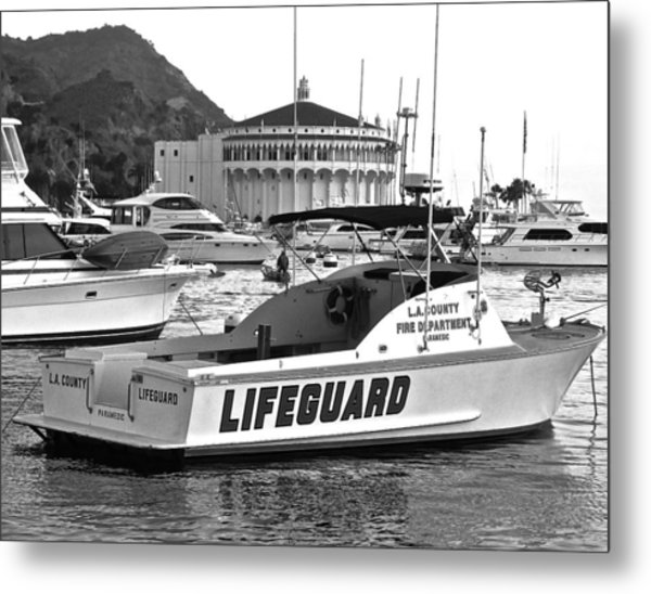 L A County Lifeguard Boat B W Metal Print