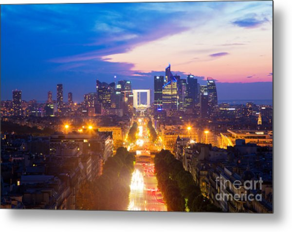 La Defense And Champs Elysees At Sunset In Paris France Metal Print