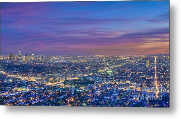 La Fiery Sunset Cityscape Skyline Metal Print