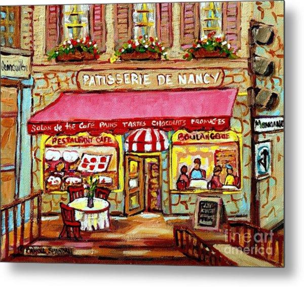 La Patisserie De Nancy French Pastry Boulangerie Paris Style Sidewalk Cafe Paintings Cityscene Art C Metal Print