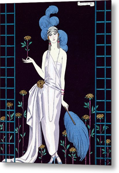 'la Roseraie' Fashion Design For An Evening Dress By The House Of Worth Metal Print