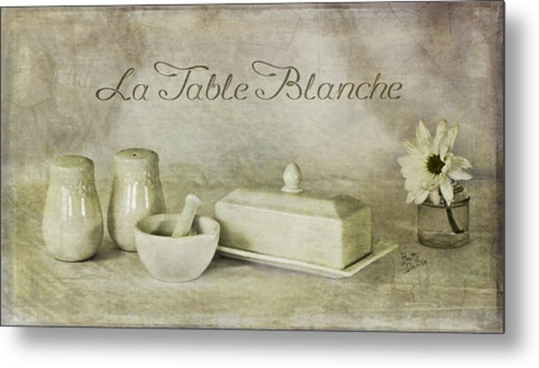 La Table Blanche - The White Table Metal Print