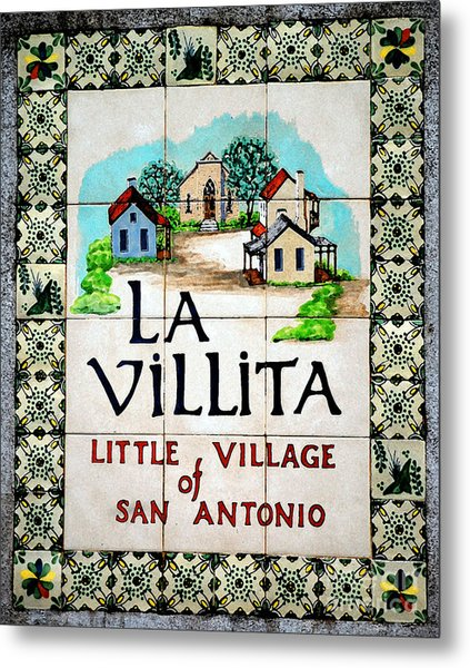 La Villita Tile Sign On The Riverwalk San Antonio Texas Watercolor Digital Art Metal Print