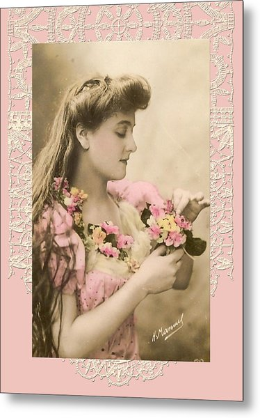 Lace And Poisies Victorian Lady Metal Print by Denise Beverly