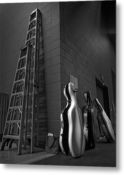 Ladders And Cello Cases Metal Print by Adrian Mendoza