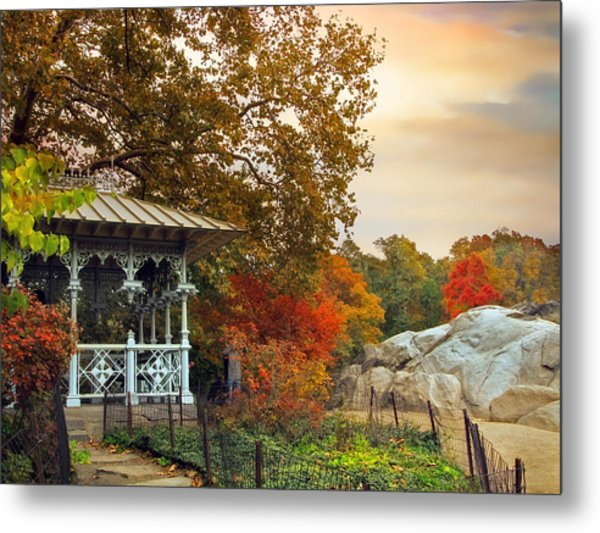 Ladies Pavilion In Autumn Metal Print