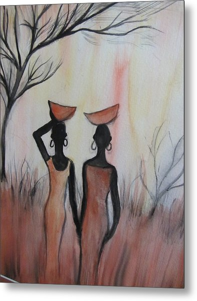 Ladies Walking In The Fields In Kenya Metal Print