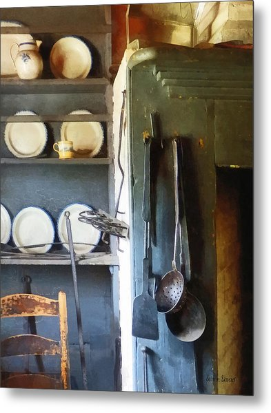 Ladles And Spatula In Kitchen Metal Print by Susan Savad
