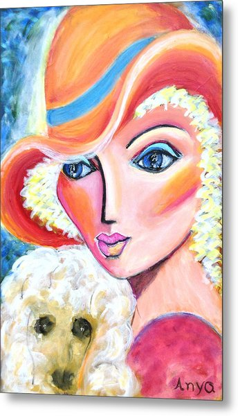 Lady And Poodle Metal Print