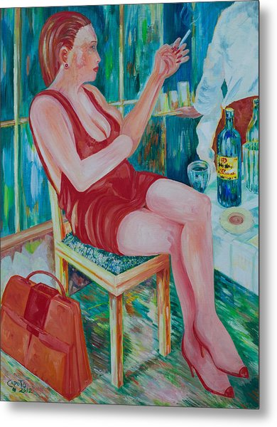 Lady At Lunch Metal Print