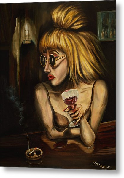 Metal Print featuring the painting Lady At The Bar by Steve Ozment