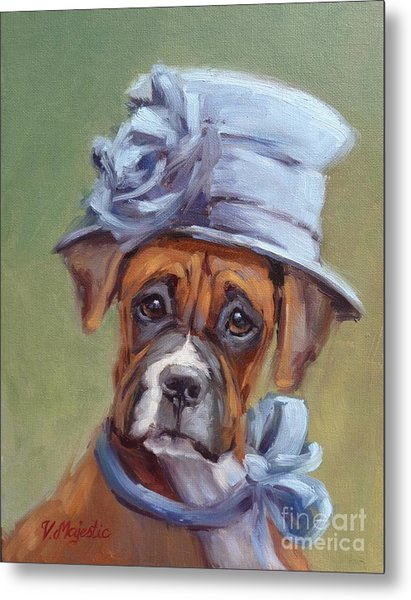 Lady Boxer With Blue Hat Metal Print