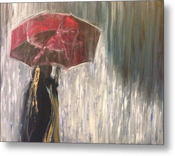 Lady In Rain Metal Print