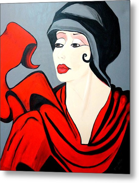 Lady In Red  Art Deco Metal Print