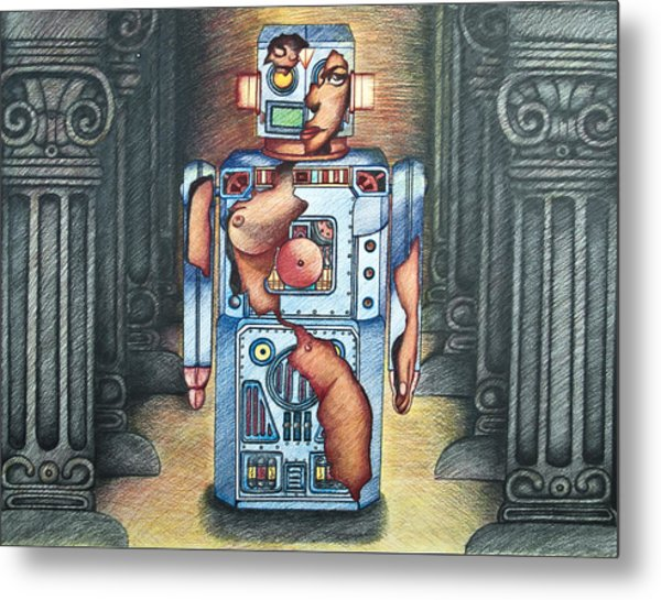 Lady In The Robot Metal Print by Larry Butterworth