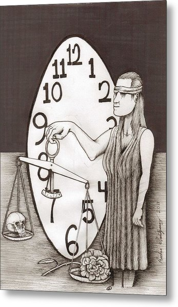 Lady Justice And The Handless Clock Metal Print