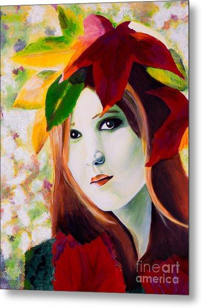 Lady Leaf Metal Print