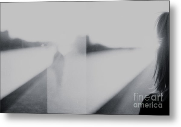 Lady Looking At Man Analog 35mm Black And White Lomo Film Photo Metal Print by Edward Olive