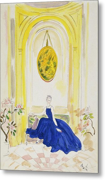 Lady Mendl Wearing A Blue Dress Metal Print