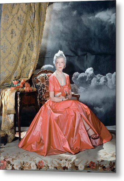 Lady Mendl Wearing An Orange Dress Metal Print by Horst P. Horst