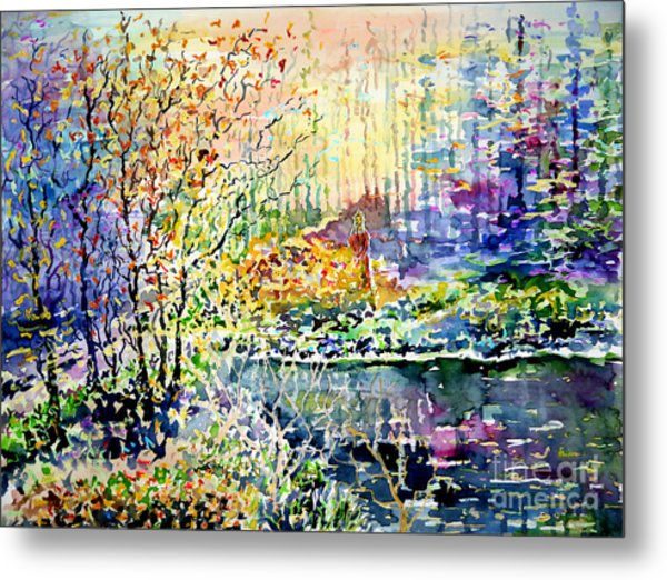 Lady Of Wood And Pond Metal Print