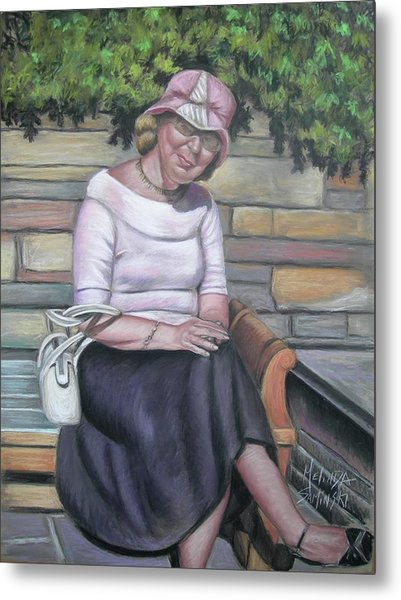 Lady Sitting On A Bench With Pink Hat Metal Print