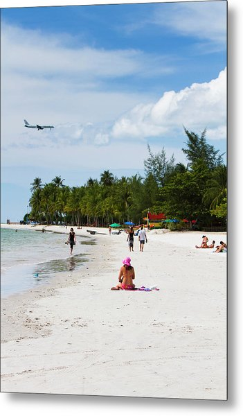 Lady Sunbathing At Cenang Beach Metal Print