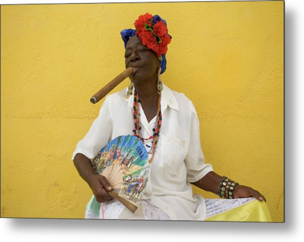Lady With Fan And Cigar, Old Havana Metal Print